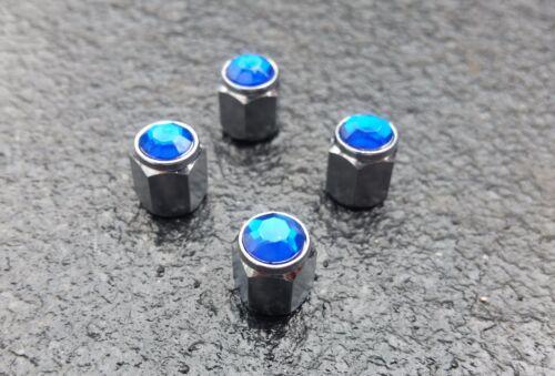 Blue Jewel Crystal Silver Diamond Tyre Wheel Valve Dust Caps x4 Car  Bike #210