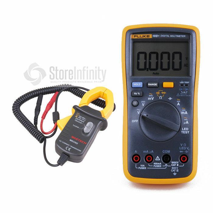 Fluke 18B+ LED Digital Multimeter + MS3302 AC Current Clamp Meter Transducer