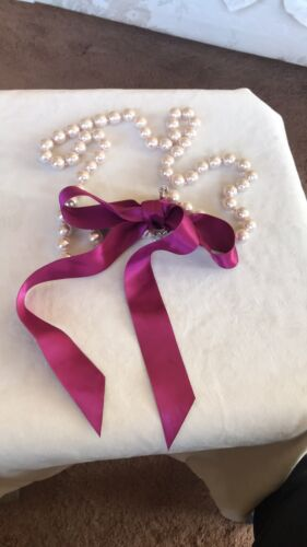 Vintage Pearl And Ribbon Necklace