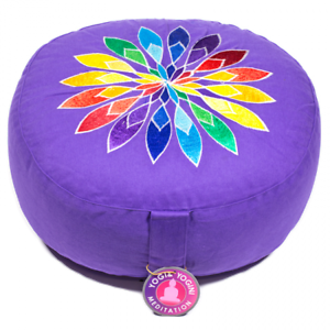 Round Meditation purple Multi Flower Cushion      Dimensions  33cm ×16 cm