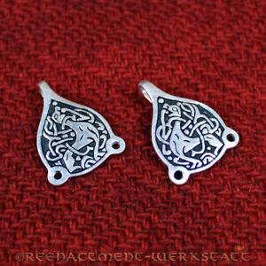 2 Stück angelsächsische Wadenwickelhaken Silber Wikinger Gewandhaken Trewhiddle