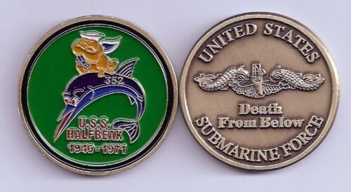 USS Halfbeak SS 352 Submarine Challenge Coin USN Navy G