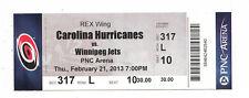 2013 CAROLINA HURRICANES VS WINNIPEG JETS FULL TICKET STUB 2/21/13 JETS WIN 4-3