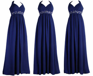 Dark-Royal-Blue-Long-Halterneck-Evening-Diamante-Maxi-Prom-Ball-Dress-Size-22