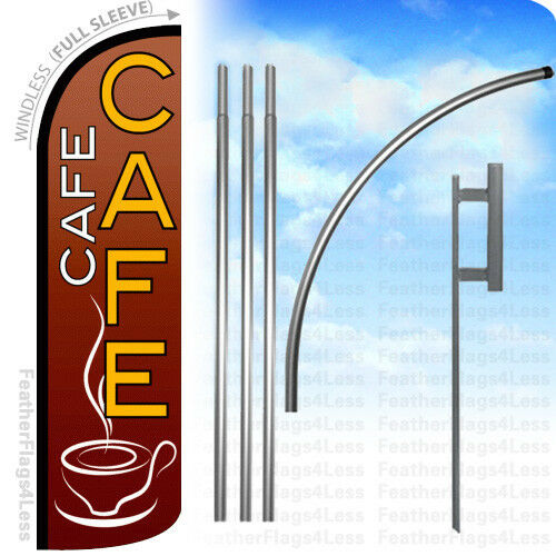 Windless Swooper Flag KIT Feather Banner Sign rq CAFE