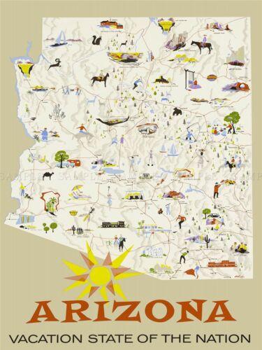 TRAVEL TOURISM ARIZONA STATE MAP SUN VACATION USA ART POSTER PRINT LV4131