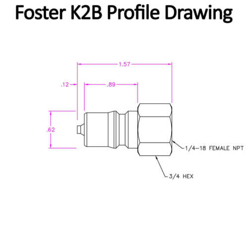 "Foster FHK Series 1//4/"" K2B Brass ISO B Hydraulic Quick Connect Coupler Plug USA"
