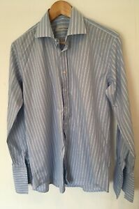 100% De Qualité Homme Derek Rose Savile Row Formal Shirt L Bleu à Fines Rayures < Sw3537