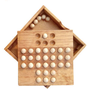 Classic-Kids-Puzzle-Wooden-Board-Game-Toys-Single-Chess-Peg-Solitaire-Diamond