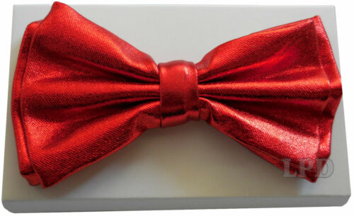Red Bow Tie with Metallic Finish Detail Classic Fashionable Tuxedo Bowtie