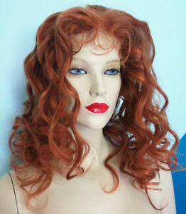 094afe598 Human Hair Full Lace Wig Indian Remi Remy Auburn Red Curly Wavy ...
