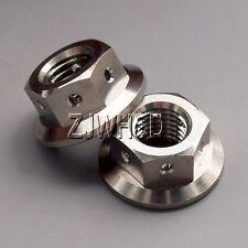 2pcs M10 x 1.25 Titanium Ti Hex Flange Race Drilled Nut for Sprocket Lockwire