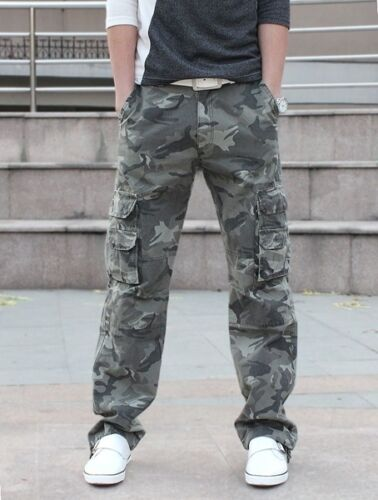 Men Casual Military Army Cargo Camo Combat Work Pants Trousers Camouflage Pant
