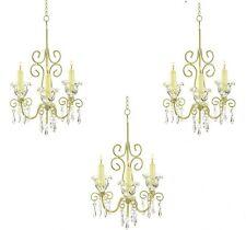 3 Chandelier Distressed Ivory Candleholder Wedding Party Hanging Decor - Set