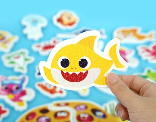 Shark Family Pinkfong Bath Sticker Restickable Waterproof Soft Eva 23p+Net  Baby