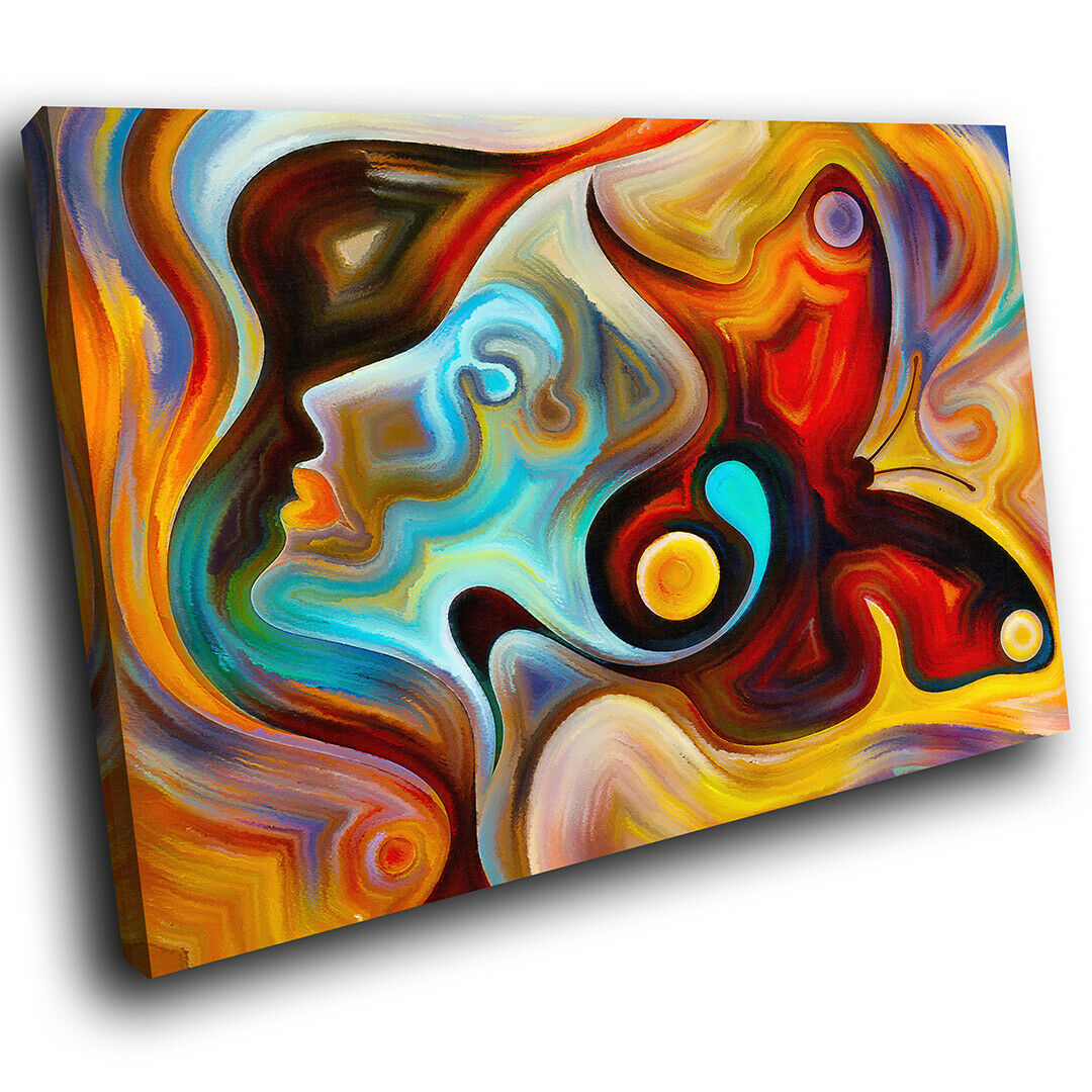 Colourful Butterfly Abstract Canvas Wall Art Large Picture Prints