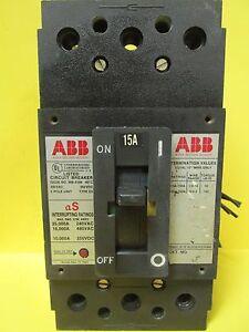 ABB TYPE ES 3 POLE 15 AMP CIRCUIT BREAKER W/BELL ALARM & AUX. SWITCH ...