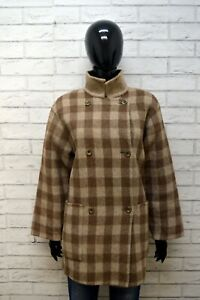 Cappotto-MARINA-RINALDI-Trench-Donna-Size-50-Giacca-Giubbino-Lana-Jacket-Quadri