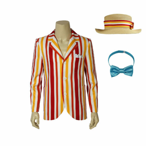 Hot! Mary Poppins Bert Cosplay Costume Jacket with Hat and Bow-tie HH.01
