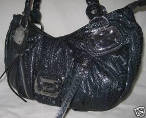 Logo Bag Marciano Spike Neuf Cuir Main A Sac Vernis Bleu Purse By Serpent Guess pftq88