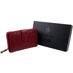 Senoras-Rojo-Cuero-Cartera-Cartera-Por-Prime-Hide-En-Caja-De-Regalo-De-Calidad-RFID
