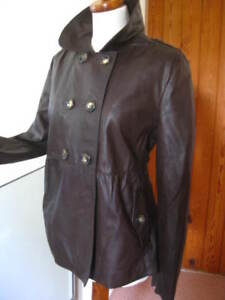 Ladies-NEXT-brown-real-leather-double-breasted-JACKET-COAT-UK-16-14-overcoat