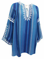 New Denim 24/7 boho plus size 22 28 30 32 blue striped top blouse tunic generous