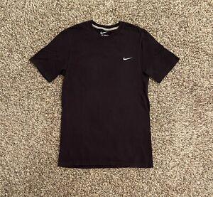 Nike-Mens-T-Shirt-Small-Black-Embroidered-Swoosh-Logo-Short-Sleeve