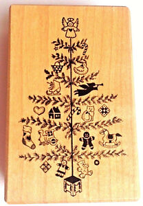 Christmas-Tree-Rubber-Stamp-Vintage-Country-Rustic-Ginger-Bread-Holiday-PSX-RARE