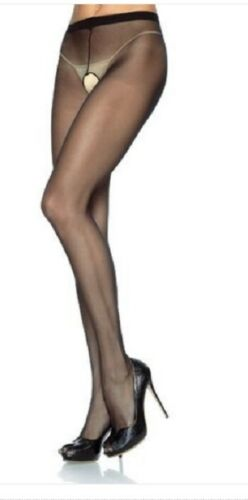 Free P/&P Leg Avenue Sheer Black  Crotchless Tights  90-160 LBS  One Size