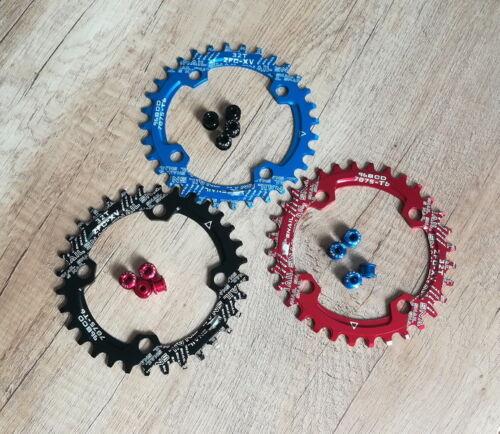 BCD 96mm MTB XC Bike Single Narrow Wide Round//Oval Chainring 32 34 36T 4pcs Bolt