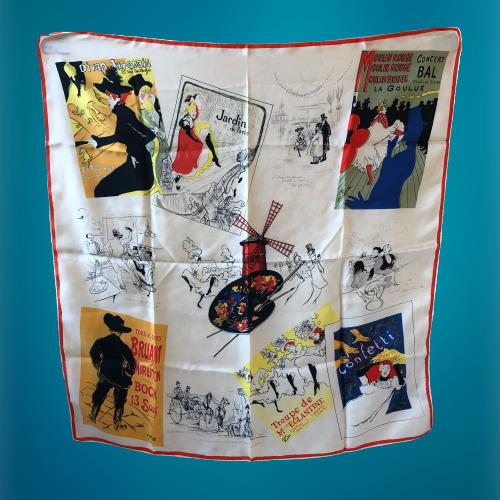 Vintage Silk Scarf French Poster Art Rolled Hem 32