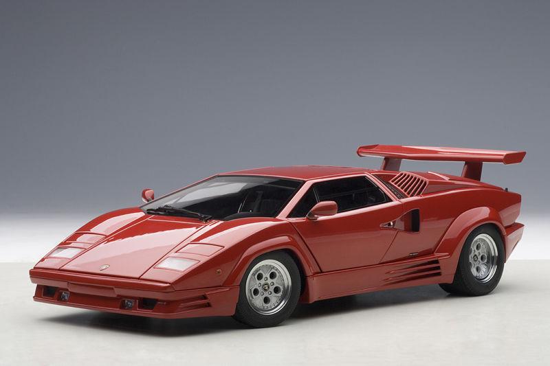 1 18 Autoart Lamborghini Countach 25th  Anniversary rouge + Libre 1 18 Display Cabinet  Nouvelle liste