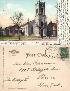 FLUSHING-LONG-ISLAND-N-Y-METHODIST-CHURCH-UNDIVIDED-1907-ANTIQUE-POSTCARD