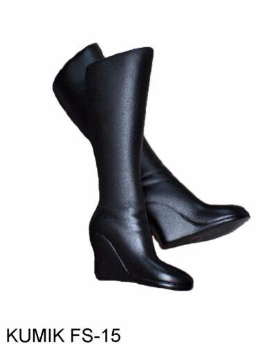 "1//6 Scale Female Shoes KUMIK FS-15 Black High Boots Fit 12/"" Action Figure Toys"