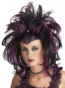 Details about Sexy Vixen Witch Black   Purples Streaked Women s Updo Wig  Mardi Gras Costume 981f6fce4