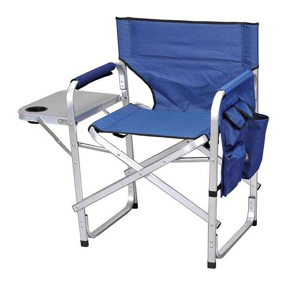 Directors Chair w  Side Table Cup  Holder Folding Camping Seat Portable bluee NEW  credit guarantee