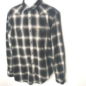Banana-Republic-Flannel-Plaid-Shirt-XL-Tall-Slim-Fit-Button-Mens-Black-Pockets