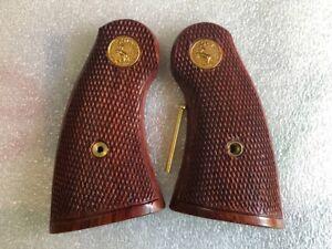 Checkered hard wood Thai handmade grip I, E FRAME New COLT PYTHON  grips