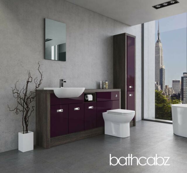 BATHROOM FITTED FURNITURE AUBERGINE GLOSS/MALI WENGE A4 1700MM WITH TALL UNITS -