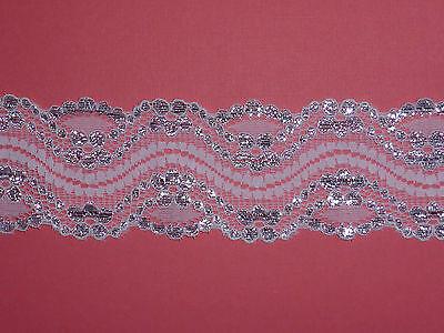 "4 METRES Pretty White & Shiny Silver Stretch Lace Trim 2.5""/6cm Wedding Sewing"