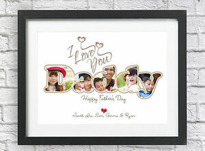 Personalised Christmas Photo Print Father Collage I Love You Daddy