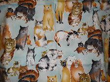 QUILTING SEWING FABRIC UNWASHED COTTON FUZZY FELINES ALEXANDER HENRY