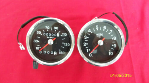 TRIUMPH MOTORCYCLE REPRODUCTION SMITH BLACK FACED SPEEDOMETER & TACHOMETER