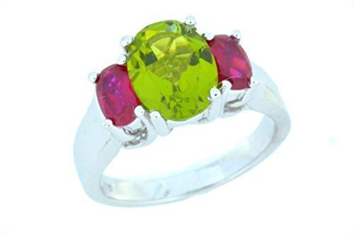 3.5 Ct Peridot /& Ruby Oval Ring .925 Sterling Silver