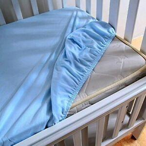 2-x-100-Coton-Soft-Lit-bebe-Drap-120-x-60-cm-Bleu