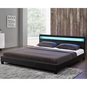 Ambiance Design En Cuir+led Lit+sommier+matelas Double 160x200 à Lattes Bed L@@k 100% D'Origine