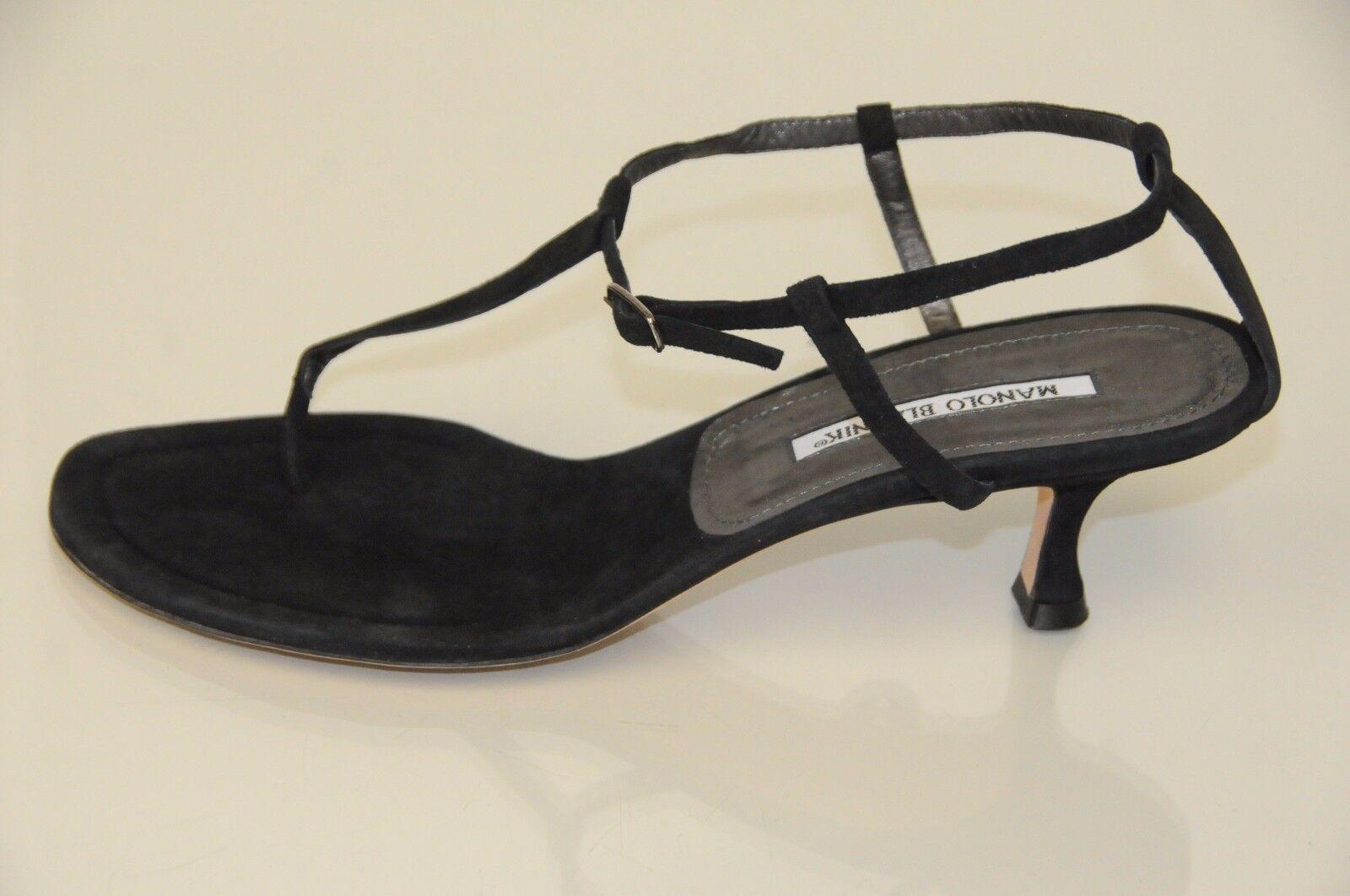 New MANOLO BLAHNIK Black Suede Thong  t t  strap SANDALS SHOES Kitten Heel 40.5 40 0874c8
