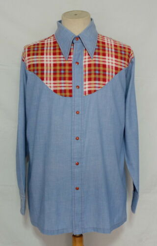 Vtg 40's Wrangler Light Blue Chambray Pearl Snap M