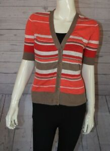 Banana-Republic-S-Pink-Stripe-Sweater-Half-Sleeve-Button-Down-Cardigan-V-Neck